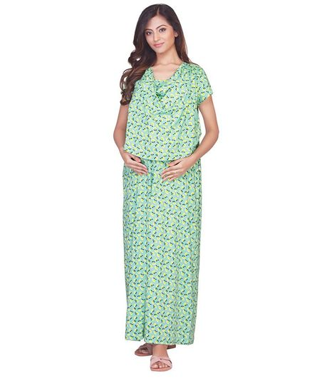 Kriti Short Sleeves Maternity Nighty Floral Print - Green