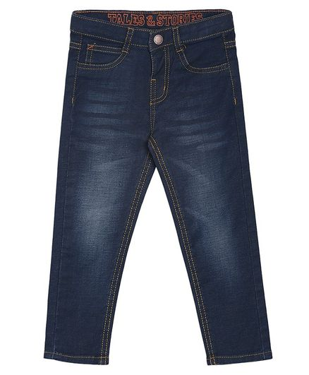 Tales & Stories Solid Full Length Jeans - Navy Blue