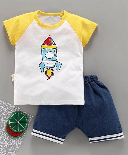 Kookie Kids Half Sleeves Tee With Shorts Rocket Print - Yellow Blue