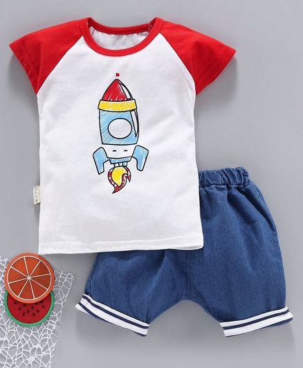 Kookie Kids Half Sleeves Tee With Shorts Rocket Print - Red Blue