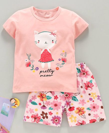 Kookie Kids Half Sleeves Night Suit Kitty Print - Pink