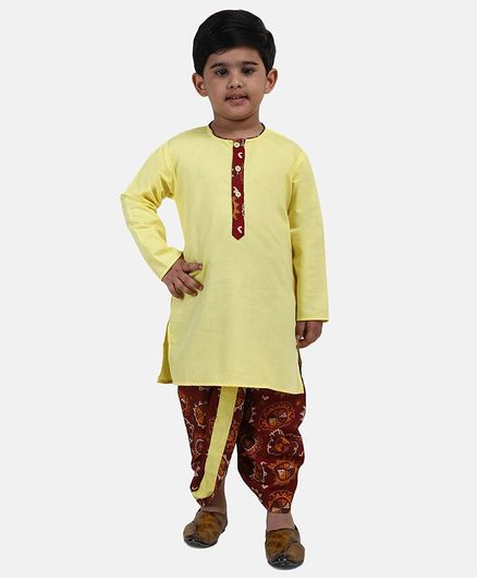 BownBee Full Sleeves Kurta & Printed Dhoti - Yellow