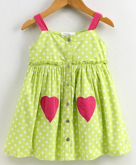 Babyoye Cotton Sleeveless Frock Polka Dot Print - Lime Green