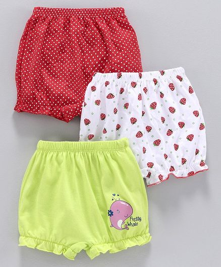 Babyhug 100% Cotton Bloomers Pack of 3 - Green Red White