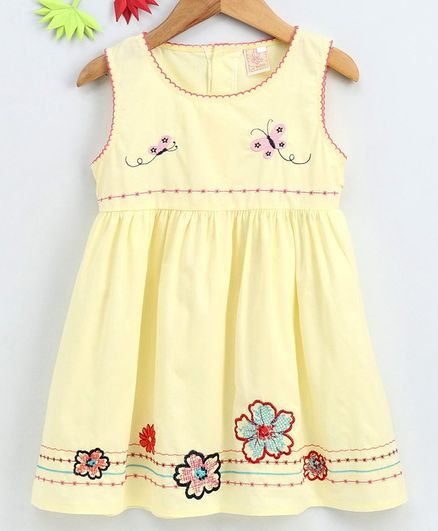 Smile Rabbit Sleeveless Floral & Butterfly Embroidered Frock - Yellow