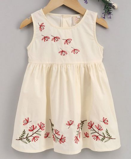 Smile Rabbit Sleeveless Floral Embroidered Frock - Cream
