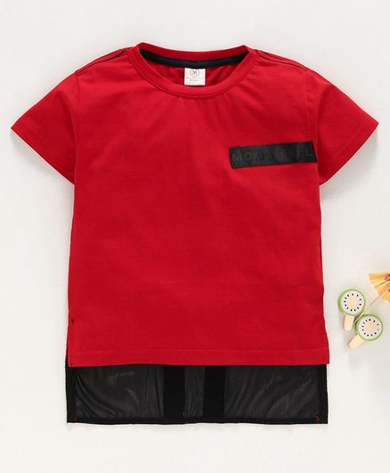 Meng Wa Half Sleeves Solid Color Tee - Red