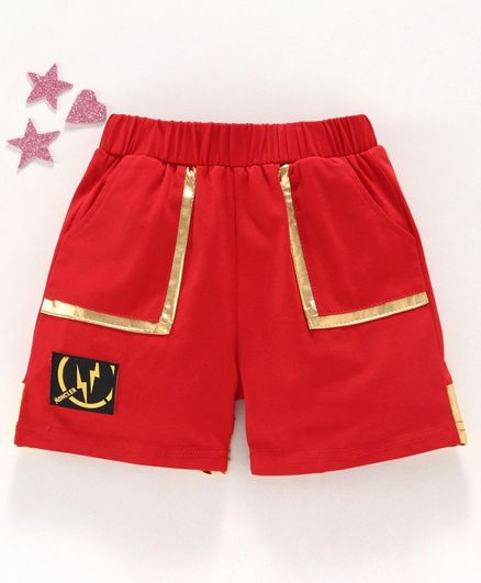 Meng Wa Solid Shorts - Red