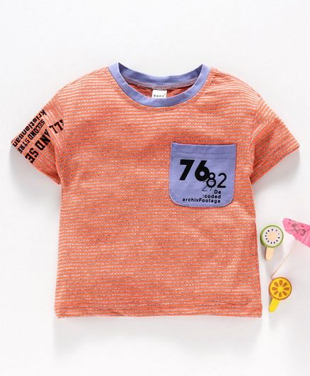 Meng Wa Half Sleeves Striped Tee - Orange