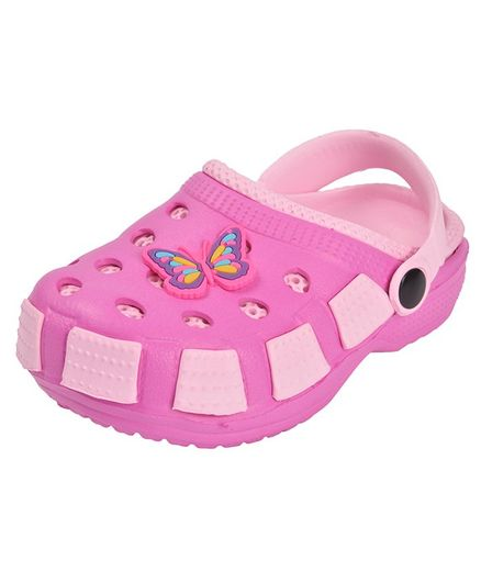 Yellow Bee Butterfly Detailed Clogs - Light Pink