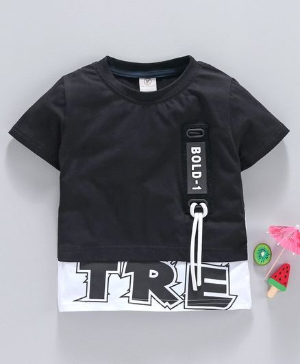 Meng Wa Half Sleeves Tee Text Print - Black