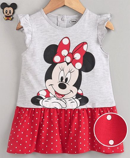 Babyhug Flutter Sleeves Frock Minnie Mouse Print - Grey Red