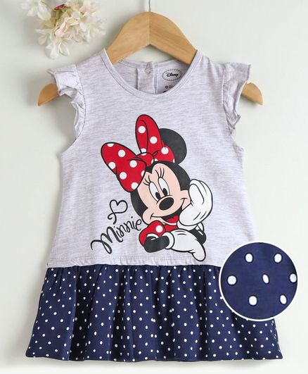 Babyhug Flutter Sleeves Frock Minnie Mouse Print - Grey Blue