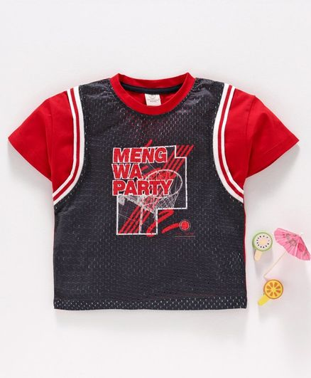 Meng Wa Half Sleeves Tee Text Print - Dark Grey Red