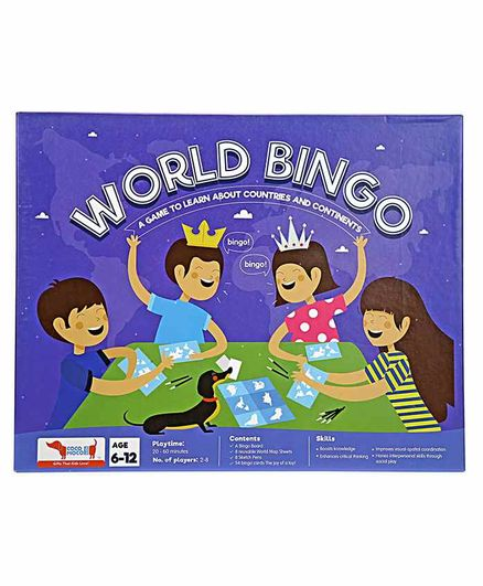 Cocomoco Kids World Bingo - Geography Game with Reusable World Maps - Just like Tambola