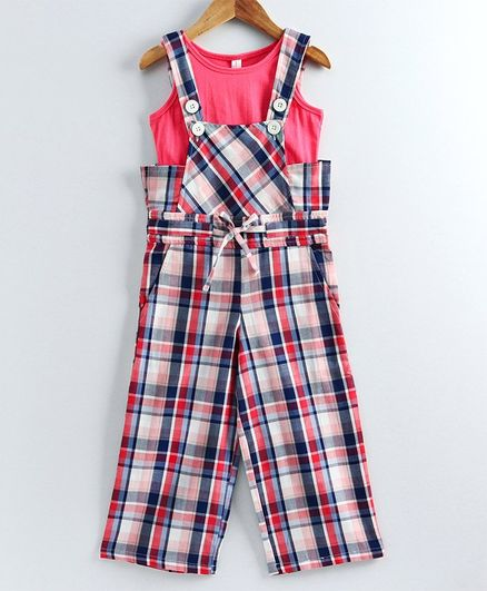 Naughty Ninos Checkered Dungaree With Sleeveless Top - Blue & Pink