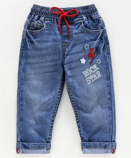 Babyoye Cotton Lycra Full Length Jeans Rock Star Print - Blue