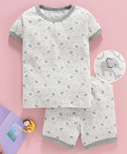 Yiyi Garden Half Sleeves Night Suit Elephant Print - Grey
