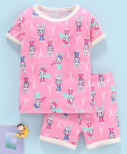 Yiyi Garden Half Sleeves Night Suit Bunny Print - Pink