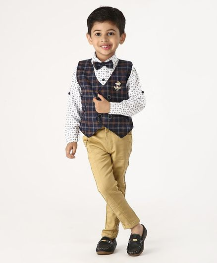 Dapper Dudes Full Sleeves Flower Printed Shirt With Checkered Waistcoat & Bow Tie With Pants - Dark Blue