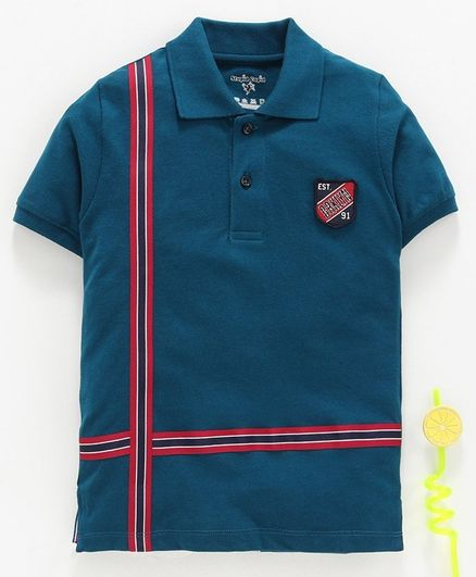 Stupid Cupid Tape Detailed Half Sleeves Polo Tee - Turquoise Blue