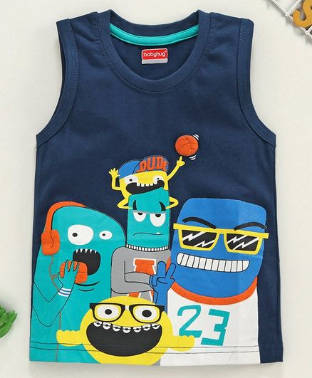 Babyhug Sleeveless Tee Graphic Print - Navy Blue