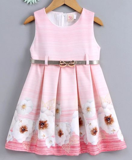 Smile Rabbit Sleeveless Floral Frock - Pink