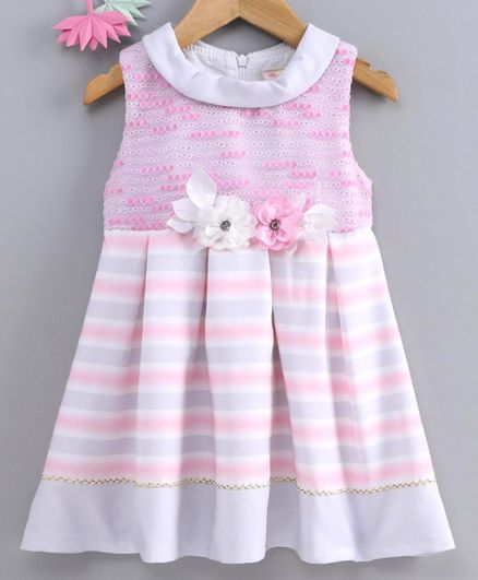 Smile Rabbit Sleeveless Frock Striped - Pink