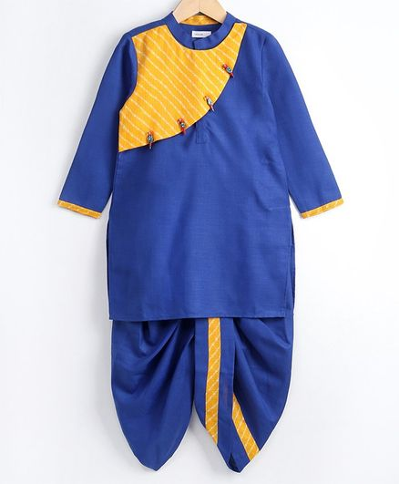 Babyoye Full Sleeves Kurta and Dhoti - Blue Yellow