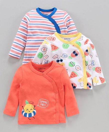 Babyoye Cotton Printed and Striped Full Sleeves Vest Pack of 3 - Orange White