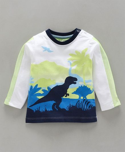 Babyoye Cotton Full Sleeves Tee Dino Print - White Black