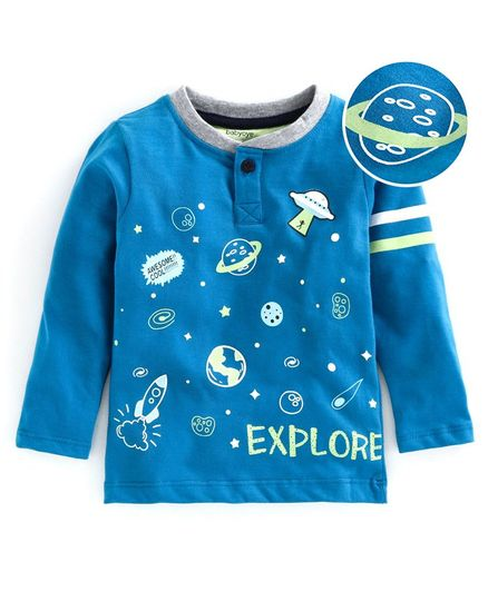 Babyoye Full Sleeves Cotton Tee Space Print - Blue