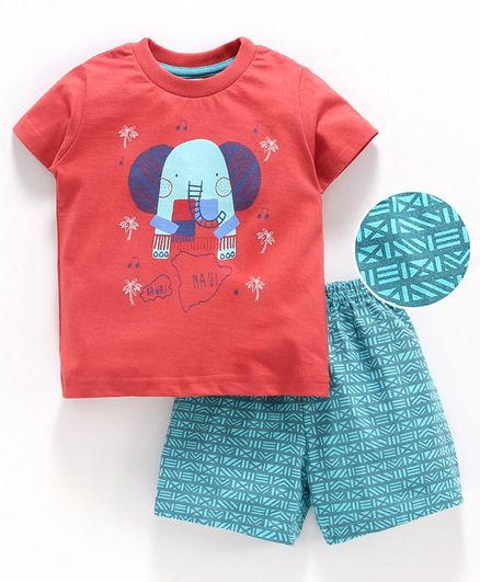 Zero Half Sleeves Tee And Shorts Elephant Print - Red