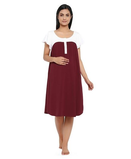 Wobbly Walk Short Sleeves Solid Colour Maternity Nighty - Maroon