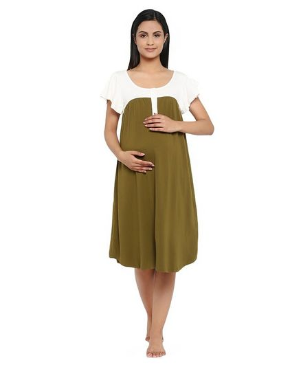 Wobbly Walk Short Sleeves Solid Colour Maternity Nighty - Green