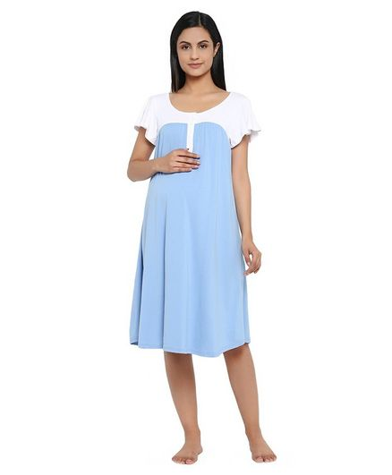 Wobbly Walk Short Sleeves Solid Colour Maternity Nighty - Light Blue
