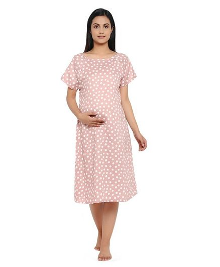 Wobbly Walk Half Sleeves Polka Dot Print Nursing Maternity Dress - Light Pink