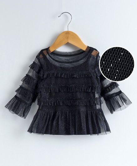 Babyoye Cotton Mix Party Wear Top Ruffle Detailing - Navy