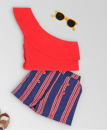 oui oui Sleeveless Top With Striped Shorts - Red