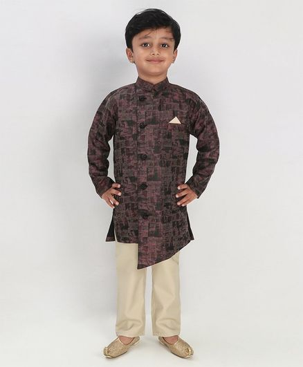 Knotty Kids Abstract Printed Full Sleeves Kurta With Pyjama - Brown