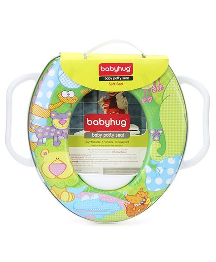 Babyhug Baby Potty Seat with Handle Animal Print - Green