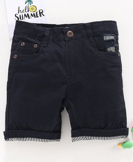 Memory Life Solid Colour Shorts - Navy Blue