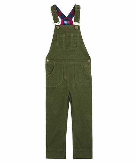 Cherry Crumble by Nitt Hyman Solid Sleeveless Front Pocket Dungaree  -  Green
