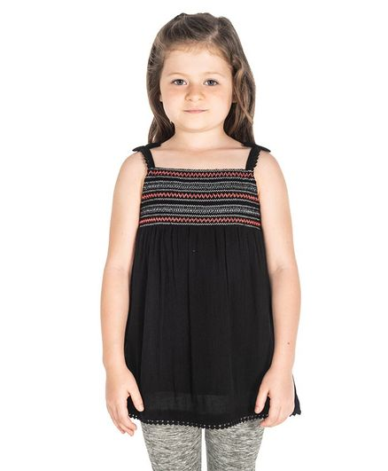 Cherry Crumble by Nitt Hyman Embroidered Sleeveless Top - Black