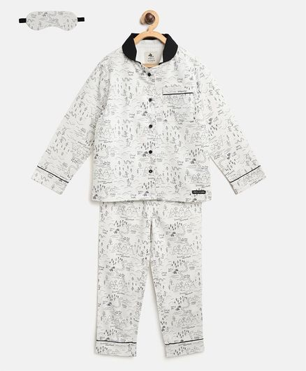 Cherry Crumble by Nitt Hyman Full Sleeves Scenic Nature Beauty Print Night Suit With Sleeping Eye Mask - White
