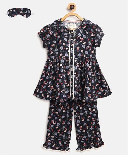 Cherry Crumble by Nitt Hyman Short Sleeves Flower Printed Night Suit With Sleeping Eye Mask - Navy Blue