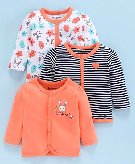 Babyoye Cotton Full Sleeves Vests Bunny Print Pack of 3 - Coral White Navy Blue