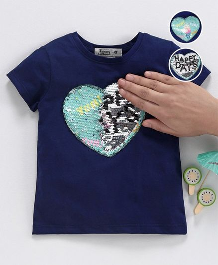 Memory Life Short Sleeves Sequin Flip Top Ice Cream Design - Navy Blue