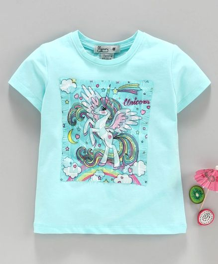 Memory Life Half Sleeves Tee Unicorn Print - Blue