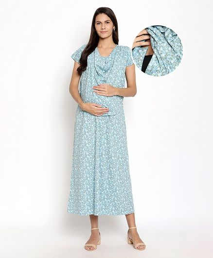 Kriti Half Sleeves Floral Printed Maternity Gown - Blue